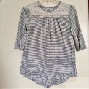 Old Navy White + Grey Striped ¾ Sleeve Top